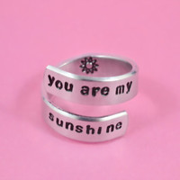 you are my sunshine - Hand Stamped Spiral Ring, Pure Aluminum Ring, Shiny, Skinny Band Ring