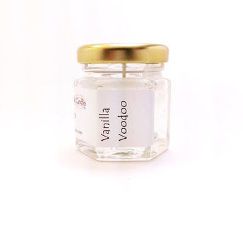 Vanilla Voodoo Small Candle Handpoured, Simple Home Decor, Mini Jar Candle Cream Scented Home Fragrance, Clear White Color Gel Wax, Dye Free