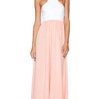 Donna Mizani Racer Front Gown in Peach