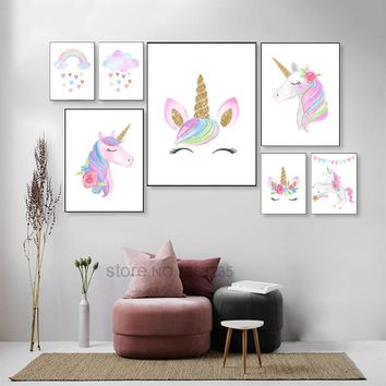 Rainbow Baby Girl Room Decor Unicorn Posters Wall Art Canvas Painting Picture Nordic Kids Children Bedroom Decor Poster Unframed