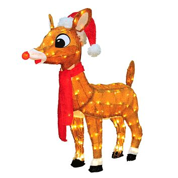 "32"" Pre-Lit Soft Tinsel Rudolph the Red-Nosed Reindeer Christmas Yard Art Decoration - Clear Lights"