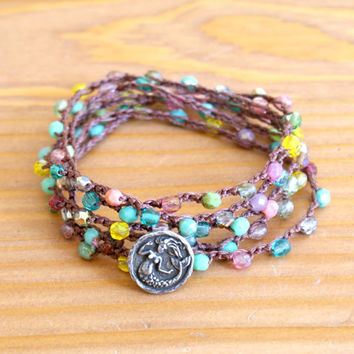 Mermaid crochet wrap bracelet, necklace, Multicolor, Tropical colorful everyday wrap, lariat, long, bohemian, boho jewelry by OlenaDesigns