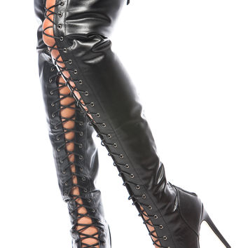 Black Faux Leather Thigh High Lace Up Boots