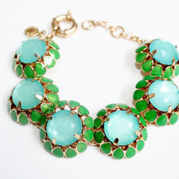 Crystal Rhinestone J Crew Inspired Button Bubble Statement Bracelet in Blue and Green