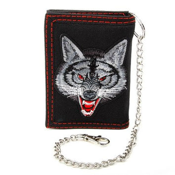 Wear Wolf Tri-Fold Wallet With Chain