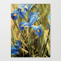 Blue Iris Watercolor Botanical Garden Nature Art Painting Stretched Canvas by Between The Weeds at Laurie Rohner Studi