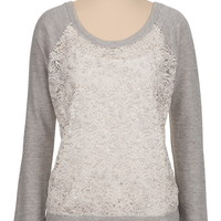 Long Sleeve Foil Front Lace Pullover