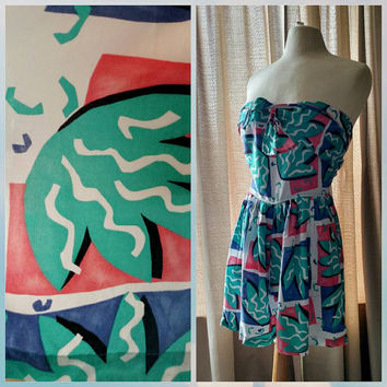 Vintage 80s-90s |  Esprit Sport |Wrap around Strapless Top | Romper | Baggy shorts | Palm Trees | Saved by the Bell