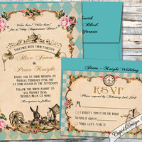 Alice in Wonderland Wedding invitation. Wonderland Wedding invitation. Elegant Alice in Wonderland invitations.