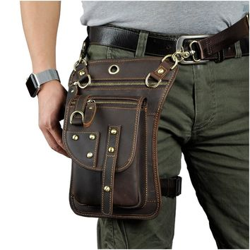 Real Leather Multifunction Men One Shoulder Crossbody Messenger Bag Hook Waist Pack Phone Cigarette Case Drop Leg Bag