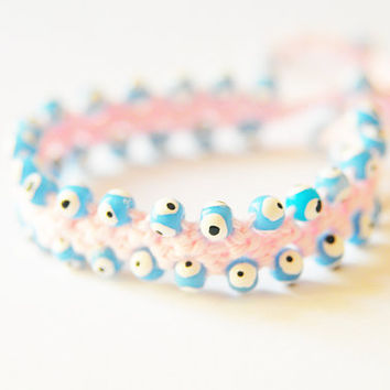 Pink bracelet, Evil Eye Bead, Blue beads, beadwork, blue beads, lace bracelet, crochet bracelet, romantic, Adjustable lengt