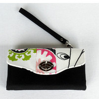 iPhone Accordion Style Wallet / Wristlet / Clutch with Detachable Strap / Flap with Twist Lock Closure / Ready to Ship