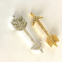 Set of TWO Small Bling Arrow Connectors One Gold and by emmaflhair