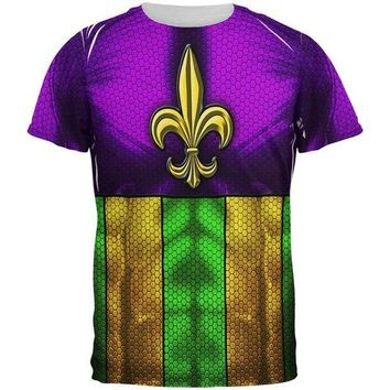 PEAPGQ9 Mardi Gras Drinking Champion Superhero Costume All Over Mens T Shirt