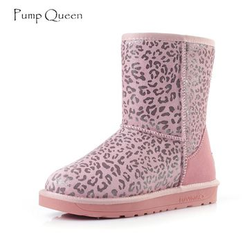 PumpQueen Pink Leopard Snow Boots Women 2018 Winter Cow Suede Warm Boots Slip On Flat Shoes Female Sewing Long Plush Round Toe