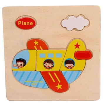 DCCKU7Q 1-3 year baby Plane Pattern Wooden Puzzle Educational Puzzles for children Baby Kids Gift Wooden Puzzles