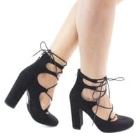 Makowa Black By Delicious, Round Toe Ghillie Lace Up Block Heeled Sandals