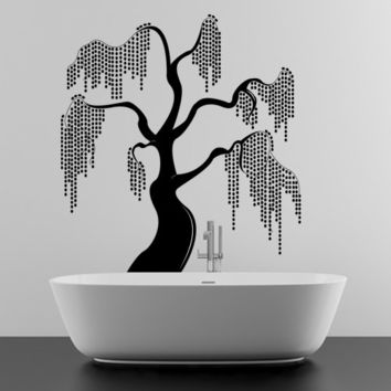 Unique and Beautiful Willow Tree Design Vinyl Wall Sticker, Art Decor Removable Decal for Home, Window, Room or Apartment.