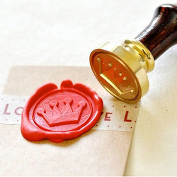 Cute Crown Gold Plated Wax Seal Stamp x 1
