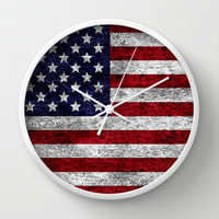 USA Grunge Flag Wall Clock by Alice Gosling