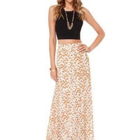 Yellow Floral Print High-Waisted Maxi Skirt