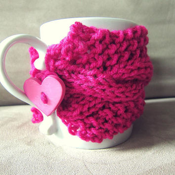 Cup Cozy Pink Knitted Mug Warmer Coffee Heart Button Loop Tea Hot Cocoa Sleeve Cable Knit Crochet Girly - Made to Order