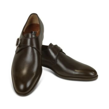 Fratelli Rossetti Designer Shoes Dark Brown Calf Leather Monk Strap Shoes