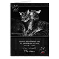 for Friend's Birthday Cat Lover with Red Heart Card