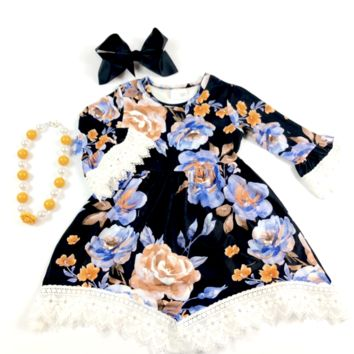 RTS Black Floral Dress w/ White Lace Sleeves D35