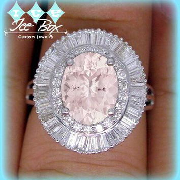 Morganite Engagement Ring 1.75ct, 7 x 9mm Oval Morganite Set in a 14k White Gold 1.12cttw Diamond Halo