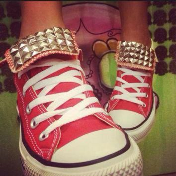 DCCK1IN custom red studded converse all star high tops chuck taylor all sizes colors