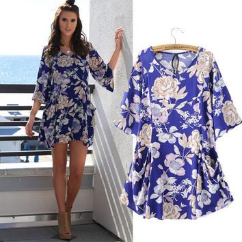 Summer Women's Fashion Floral Vintage Print Half-sleeve Maxi Dress Dress One Piece Dress [6033319041]