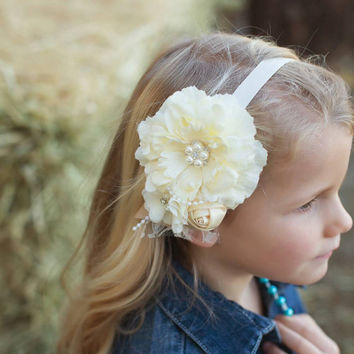 Cream Peony flower  headband,  baby headband,  Girl hair accessory,  Photo prop