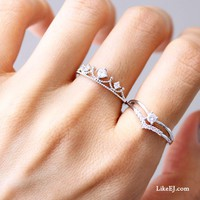 Chevron Lovely Cute Gorgeous Queen Girly Delicate Silver Classical Ring
