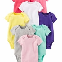 Carter's Baby Girls' 8 Pack Short Sleeve Bodysuits