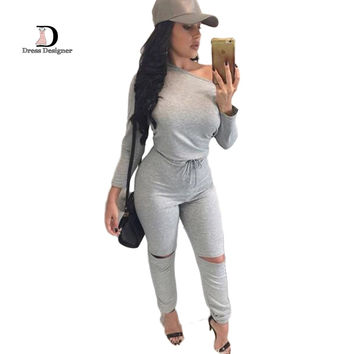 2016 Fashion Plus Size Sexy Rompers For Women Long Sleeve Bodycon One piece Outfits Long Pants Grey Jumpsuits