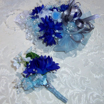 Wrist Corsage and Boutonniere-Prom - Made to Order- 2 Piece Set- Light Blue-Dark Blue- White Wrist Bouquet - Boutonniere