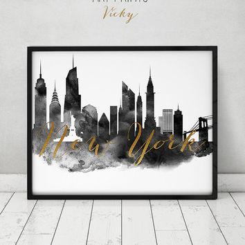New York print, black and white art, NYC poster, simulation of gold, Wall art New York skyline cities prints, travel poster, ArtPrintsVicky.