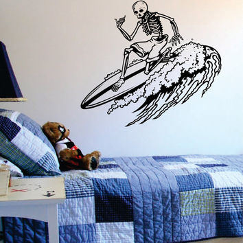 Skeleton Surfer Design Sports Decal Sticker Wall Vinyl