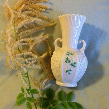 Belleek Shamrock Vase Vintage Irish Porcelain Double Handled Vase White China Vase Made in Ireland With Green Shamrock Panels Wedding Gift