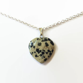 Dalmation Jasper heart necklace gemstone heart pendant chakra necklace healing necklace jasper reiki necklace girlfriend protection necklace