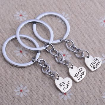 Set Of 3 Big Middle Little Sister Love Heart Best Friend Gifts Keyring Women Jewelry Keychain Friendship Key Ring Key Chain New