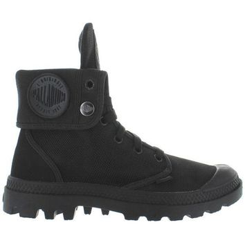 Palladium Monochrome Baggy Ii   Black Canvas Fold Over Lace Up Boot
