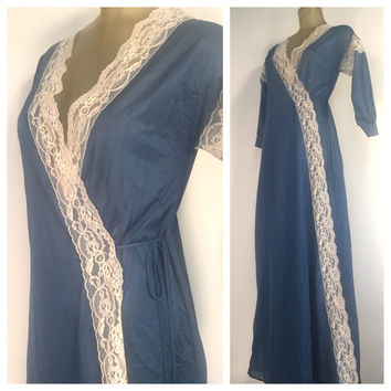 Blue Peignor Robe, Vintage Dressing Gown, Lace Trim Long Blue Robe Long Vintage Robe Blue Duster Robe Vintage boudoir Vintage Lingerie Robe