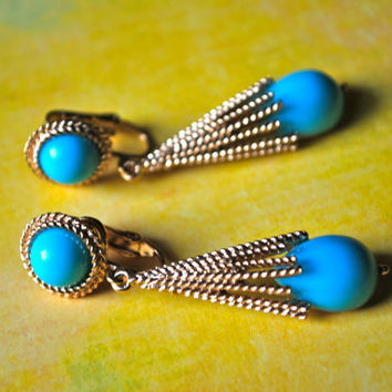 Turquoise Blue and Gold Earrings #vintage, #gold, #blue