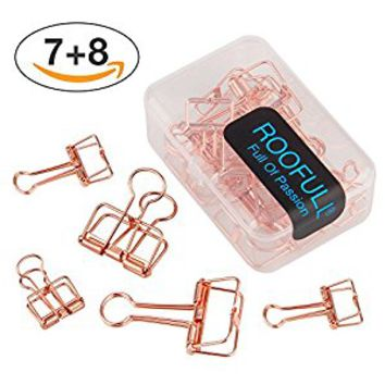 15 Rose Gold Wire Binder Clips Assorted Sizes, 7 Medium and 8 Small Smooth Clips for Paper in Box - Office Supplies School Students Home by ROOFULL