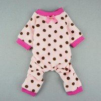 Fitwarm Pink Cute Polka Dots Dog Coat for Pet Dog Pajamas Soft Winter Clothes, Small