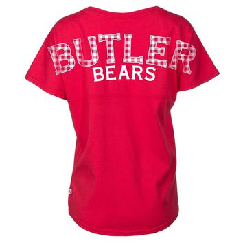 Blue Official NCAA Butler University Bulldogs Bu The War Song Women's Short Sleeve Spirit Wear Jersey Ts