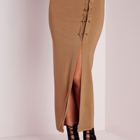 Missguided - Silver Bar Detail Midi Skirt Camel