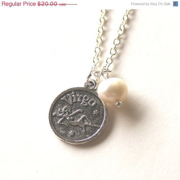 VALENTINES DAY SALE Virgo astrology zodiac star sign horoscope charm and white pearl silver necklace